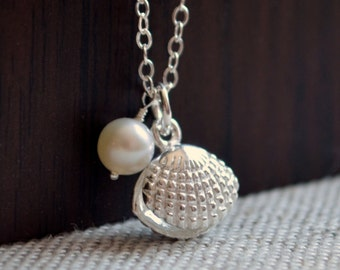 Flower Girl Necklace, Beach Wedding, Seashell Clam Shell Pendant, Child, Children, Sterling Silver Jewelry