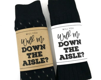 Will You Walk Me Down The Aisle Sock Wrapper, Father of the Bride Gift, Brother of the Bride Gift,Wedding Socks Wrapper, Wedding Socks Label