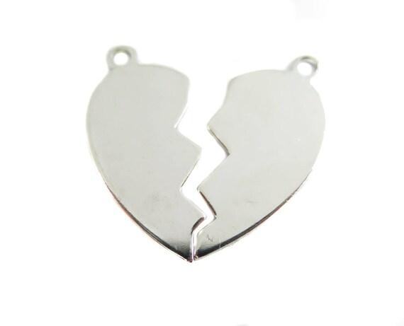 Rhodium Plated Engraving Broken Heart Charms - mirrored (4X) (M614-B)
