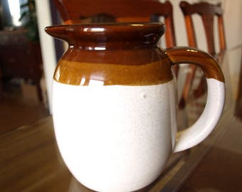 "Vintage Stoneware Milk Pitcher - White and Brown – 6"" Tall"
