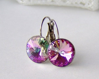 Pink rhinestone leverback earrings / hypoallergenic / surgical stainless steel / girlfriend gift / gift for her / Swarovski crystal