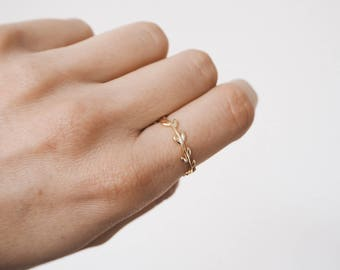 Branch ring, Leaf ring, delicate ring, delicate gold ring, dainty jewelry R086