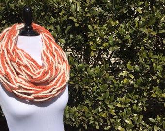 Infinity Scarf | Pumpkin/Cream | Handmade |  Arm Knitted