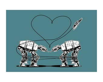 Funny Star Wars Card: Star Wars Valentine, Star Wars Postcard, Blue AT-AT Love, Star Wars Valentines Cards, Valentine for Men