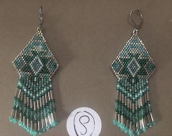 Boucles d'oreilles style cheyenne ethnique dans les tons turquoise et argenté