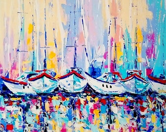 Sunny breez abstract; Original palette knife painting; Size 80 X 80CM