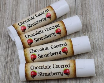 Chocolate Covered Strawberry Lip Balm - Handmade All Natural Lip Balm