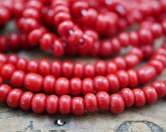Seed Bead Size 4 Vintage Czech Bead Seed Bead Size 4  Red (1 strand about 145 beads) SB1165