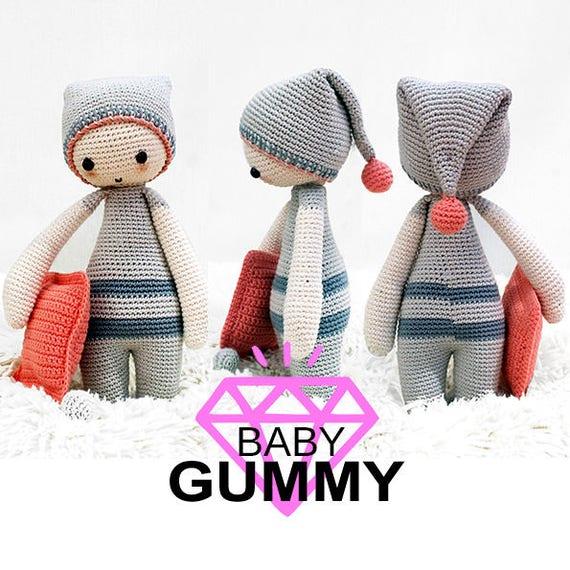 AMIGURUMI PATTERN. Baby Gummy Dormilón. Patrón de crochet /