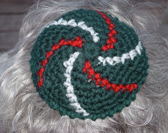 Kippot Yarmulke Kippah Green Cranberry Red Silver Holiday Bucks Handmade Crochet