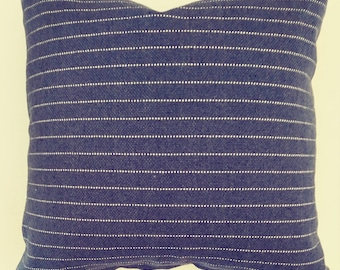 """Blue and White StripePillow Cover with Zipper,19.5""""x19.5"""" shown,Includes Fabric Shown, Made to Order,Free Fabric Sample,You Pay Shipping."""