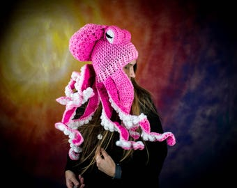Octopus Hat, Kraken Hat, Crochet Octopus Hat, Tentacle Hat, Silly Hat, Unique Hat, OOAK Hat, Pink Octopus Snowboarding Hat,