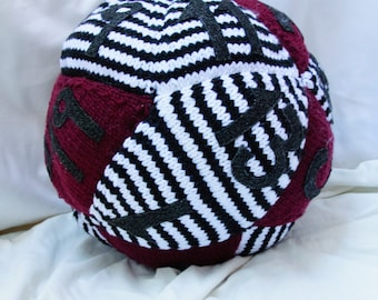 "20 Sided Dice Pillow - Style 2: ""Black and White and Red All Over"""