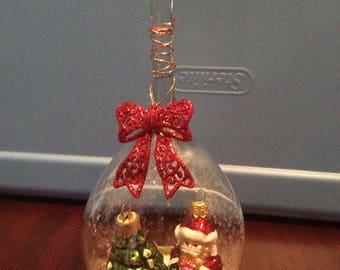 Wine Glass Santa Votive Holder