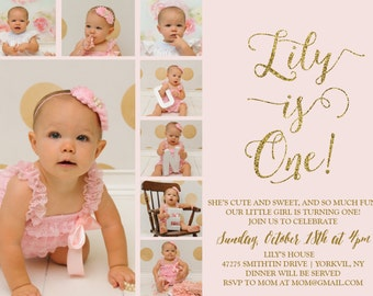 Pink and Gold Glitter 1st Birthday  Birthday Printable Invitation