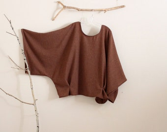 made to order oversized soft autumn brown wool kimono wide sleeve top with folds/ plus size wool / wool kimono top / minimalist clothing
