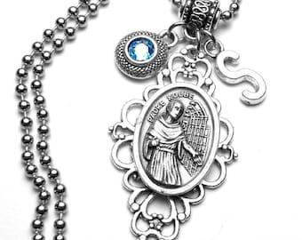 St. Maximilian Kolbe Holy Medal Filigree Pendant with Custom Birthstone & Initial Letter Necklace, Patron Saint of Drug Addictions