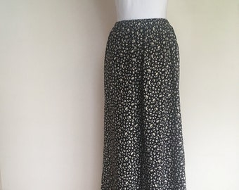 salvation armani vintage skirt - black skirt with white/red/yellow floral - summer skirt - spring skirt - long skirt - floral skirt