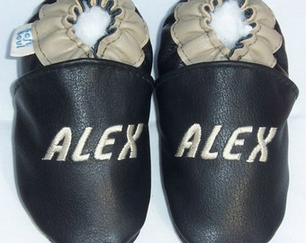 leather baby shoes Personalized - soft soled leather baby boy shoes - baby shoes made in Canada -