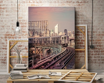 New York photography, Silvercup subway canvas art, New York canvas art, Large wall art, large canvas art personalized home decor