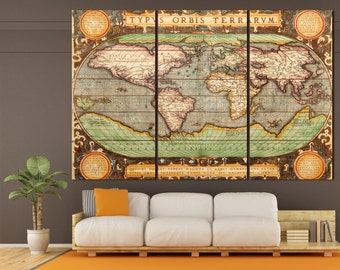 Large gray world map grey canvas world map gray black and vintage canvas world map wall art large old world map canvas 3 or 5 panels gumiabroncs Images