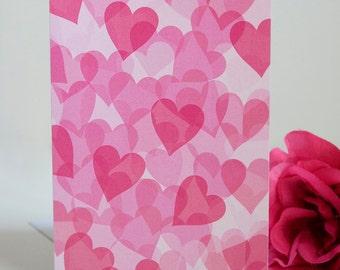 Valentine's Day Card - Single Card - Many Hearts