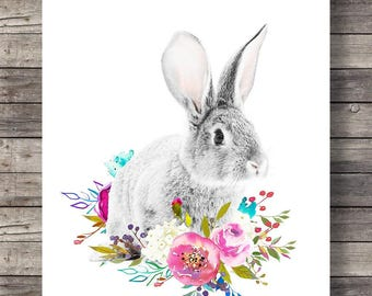 Rabbit Printable art   Watercolor Rabbit with flower garland   flower crown   printable rabbit roses art   digital print   rabbit print