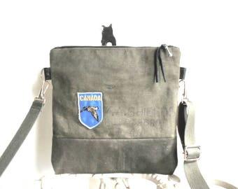 Military waxed canvas crossbody, iPad flat bag - vintage Canada souvenir patch - eco vintage fabrics