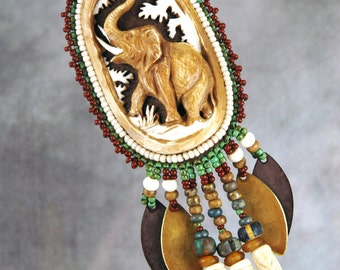 Necklace, bead embroidery, beaded, elephant,  bone, beaded necklace