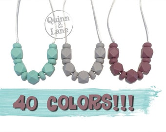 Silicone Teething Necklace CHOOSE COLOR - Bite Beads Nursing Necklace Jewelry - Teether Chewing Beads - Chew Jewelry Beads  - Hexabus