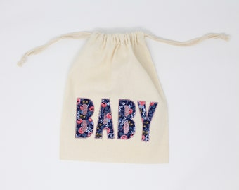 "Gift Bag - 8"" x 10"" Natural Cotton Pouch for Baby Gift or Baby Shower - Choice of Modern, Designer Fabric for Letters - Glitter Outline"