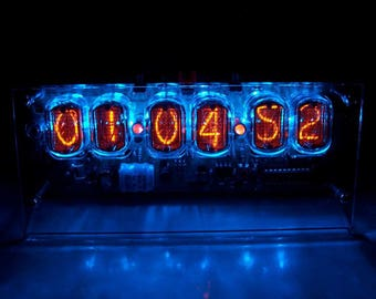 Soviet IN 12 Nixie Tube Desk Clock. Hand Made 6 Digit 12 AM/PM or 24 Hours Mode Table Clock. 110V or 220V