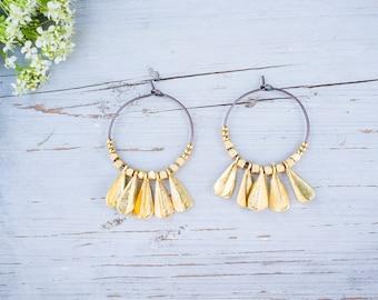 Hoop Earrings, Beaded Hoops, Matte Gold Charms, Gypsy Style Hoops, Ceramic Beads, Boho Jewelry, Boho Chic,
