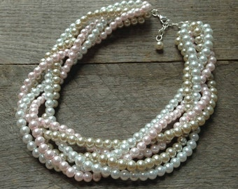 Champagne Pink Pearl Statement Necklace, Multi Strand Wedding Necklace, Chunky Braided Necklace on Silver or Gold Chain