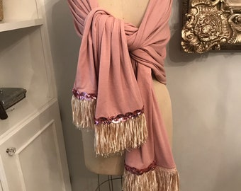 Pink Shawl, Pink Wrap, Pink Beach Wrap, Wrap with fringes