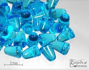 Aquamarine Czech Glass Gumdrop Beads 10x7mm, 12 pcs (7825)