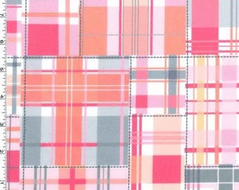 MINKY Fabric - Pink Madras Patch Plaid from Michael Miller Fabrics -  100% Polyester Minky
