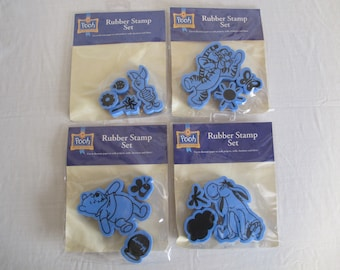 4 - Disney RUBBER STAMP SETS Pooh Eeyore Piglet Tigger 100 Acre Collection