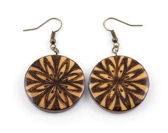 Wooden circle earrings flower mandala original freehand pyrography woodburning art One-of-the-kind Rustic jewelry glossy finish bronze hooks