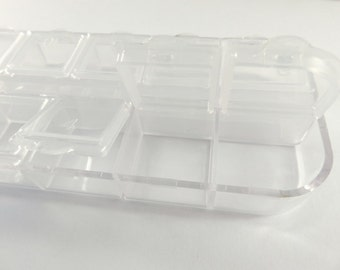 Bead Storage Containers Clear Plastic Organizers 130x50mm 12 Compartments - 5in x 2 in - MS11046-CL