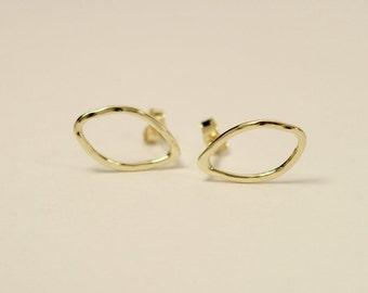 14k Leaf earrings, 14k gold leaf earrings, Leaf earrings, 14k leaf stud earrings, 14k stud earrings, 14k post earrings, 14k gold earrings