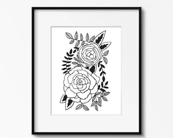 Roses 8x10 printable - black and white flower wall art - floral prints office decor - artist studio wall art - monochrome nursery print