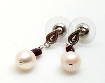 Freshwater Pearl Teardrop Earrings with Genuine Garnet Gemstone Accents on Teardrop Sterling Silver Studs with Wide Back Ear Nuts