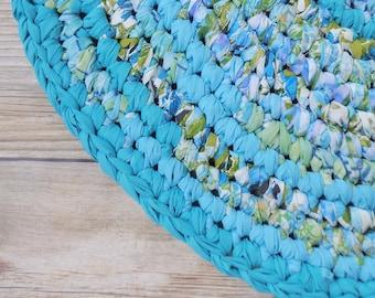Round Rag Rug - Boho Nursery Decor - Turquoise Aqua Caribbean Bleu - Baby Shower Gift - Wedding Present - Reversible - Machine Washable Rug