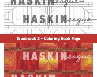 Adult coloring page, digital download printable, geometric brick design patterns Inspired by Cranbrook architecture