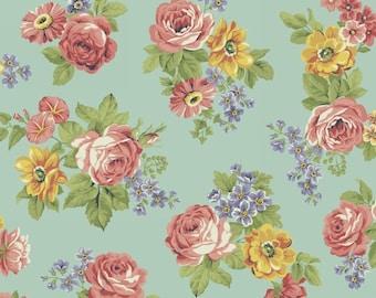 Large Floral (Aqua) - Dover Flannel - Windham Fabrics - 1 Yard