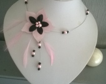 Bridal necklace, black and pink silk flower, pearls and pink and black feathers, customizable