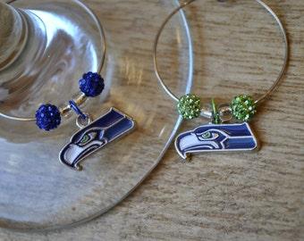 Seattle Seahawks Wine Charm Set