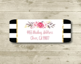 Address Only, Black & White, Flower Bouquet, Gold, Return Address Label, Personalized, MATTE, Watercolor Style