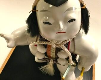 Vintage Collectible Gofun Japanese Gosho Ningyo Doll Palace Doll Samurai Warrior in Display Case Collectible Asian Art Doll